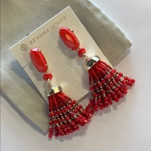 Dove earrings gold/ red